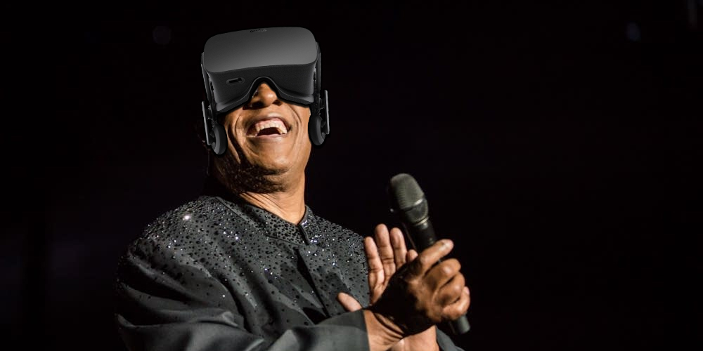 A manipulated image of Stevie Wonder wearing an Oculus Rift VR headset and smiling