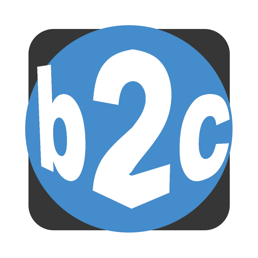 "Big Blue Ceiling logo ""b2c"" in a blue circle on a charcoal grey field"